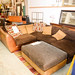 Large l shape leather and fabric sofa with footstool E335 set