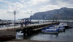 Considérations matinales sur la jetée,  port de pêche, Mondello, Palerme, Sicile, Italie