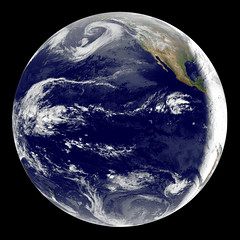 GOES 11 satellite image showing earth on March 25, 2010. Original from NASA. Digitally enhanced by rawpixel.