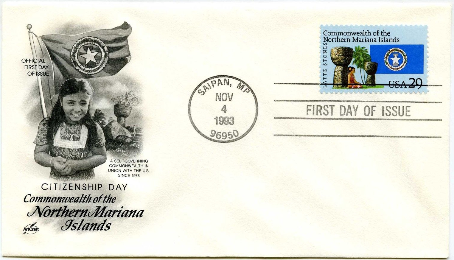 United States - Scott #2804 (1993) first day cover; ArtCraft cachet