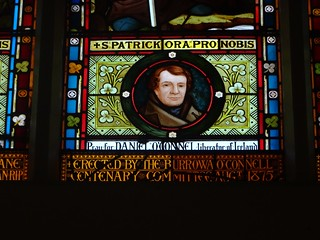 Boorowa. Stained glass window imported from Ireland in 1881. This panel depicts Daniel O'Connell. Done for the Boorowa O'Connell Centenary Comittee 1875.
