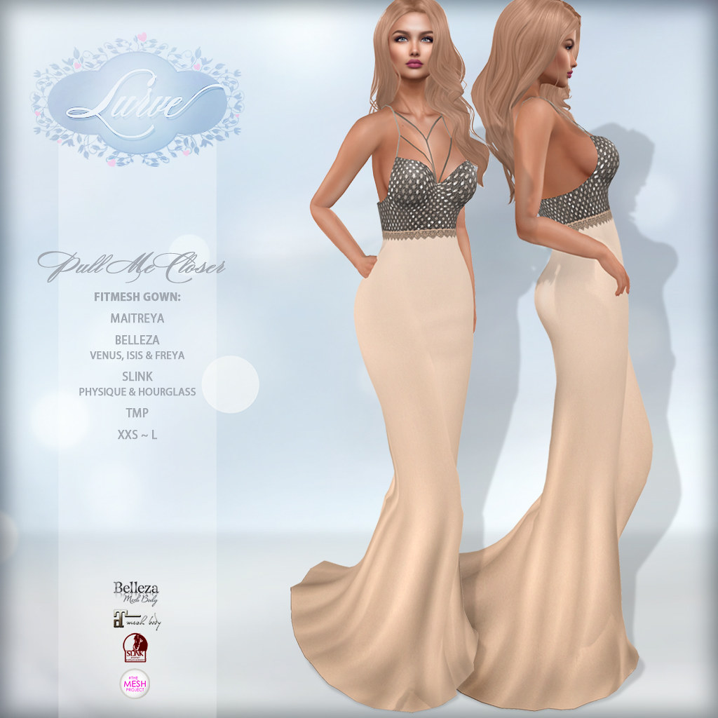 *Lurve* Pull Me Closer Gown in Champagne