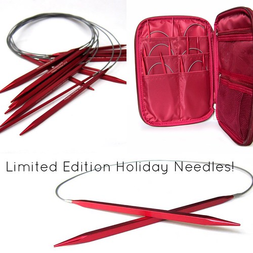 "Kollage Limited Edition Holiday Square Circular Needle Sets are in featuring 10 needles sizes US 3-11 with 40"" firm cords in a festive anodized red!"