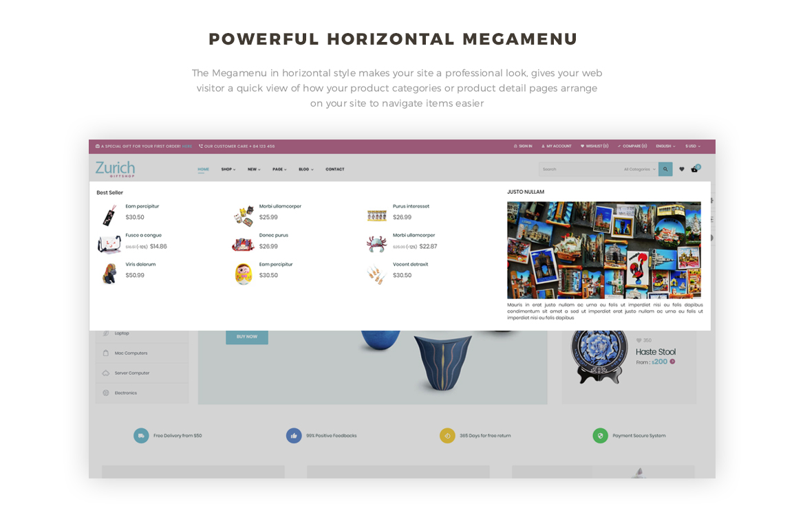 powerful horizontal mega menu-Leo Zurich - Gifts and Souvenirs shop