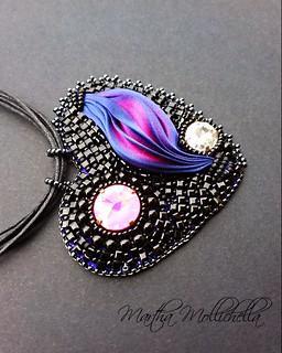 Shibori ribbon silk jewels jewellery by Martha Mollichella