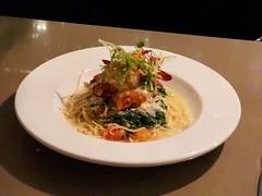 Dungeness crab stuffed prawn pasta
