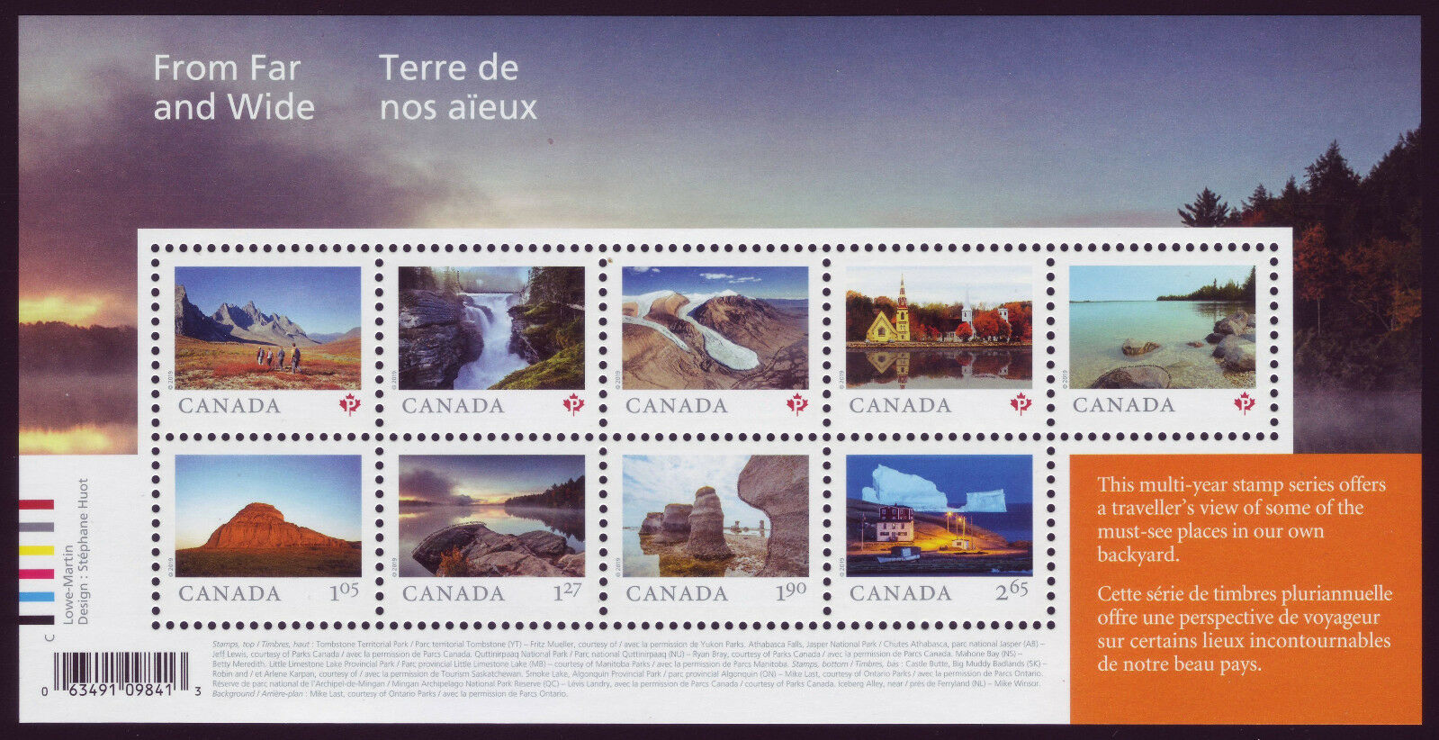 Canada - Far and Wide (January 14, 2019) souvenir sheet of 9