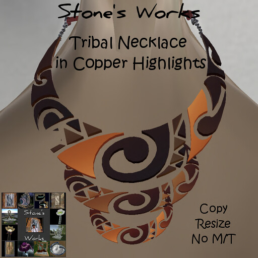 TRIBAL MOON Copper Necklace  Stone's Works