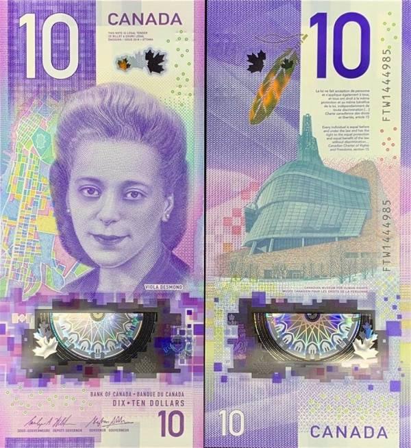 10 Dolárov Kanada 2018, polymer pamätná