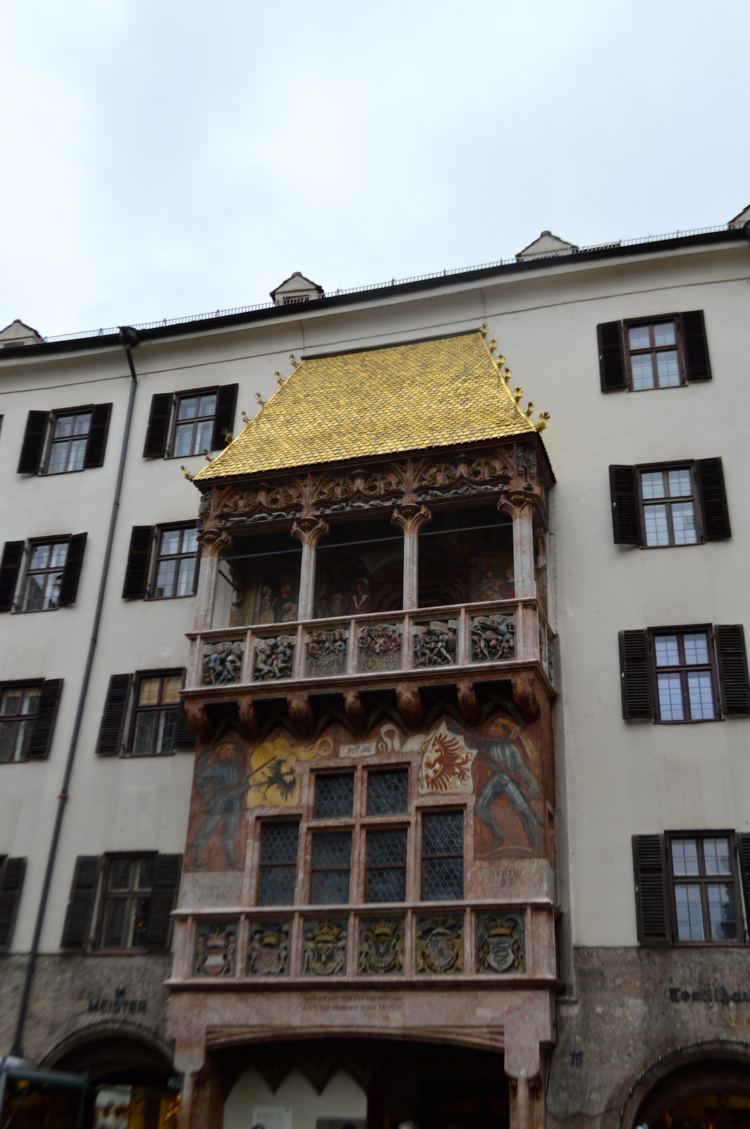 This is the picture of The Goldenes Dachl (Golden Roof) is a landmark structure located in the Old Town (Altstadt) section of Innsbruck