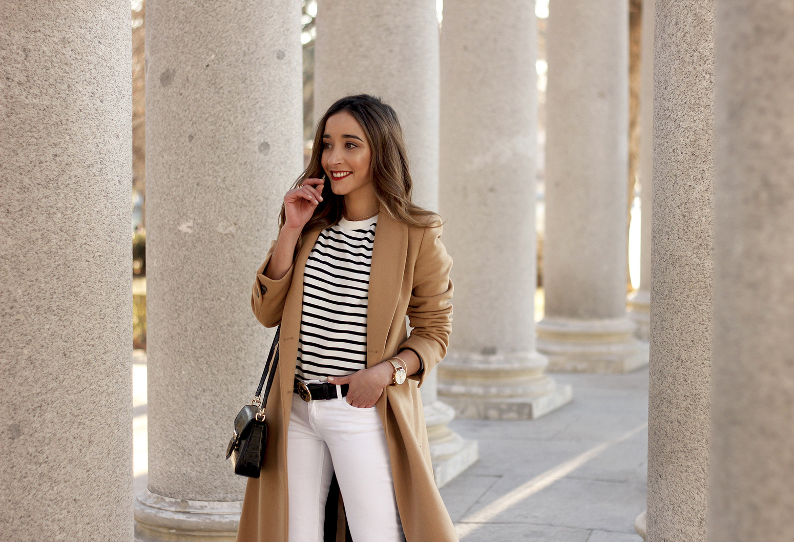 beige coat ripped jeans givenchy bag gucci belt street style outfit 201913