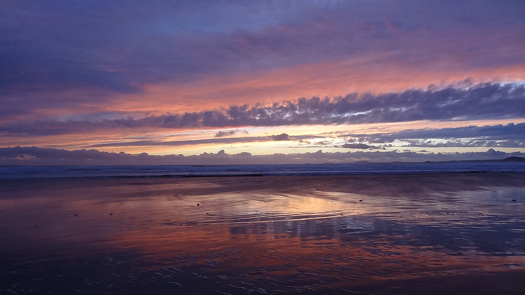 Sunset after the storm, Newgale Beach