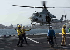 PORT MORESBY, Papua New Guinea (Nov. 15, 2018) A UH-1Y Venom helicopter assigned to Marine Light Attack Helicopter Squadron (HMLA) 469 prepares to land on the flight deck of the amphibious transport dock ship USS Green Bay (LPD 20) during a training evolution. Green Bay is in Port Moresby to assist with security efforts ahead of the Asia-Pacific Economic Cooperation (APEC) conference and is the second U.S. ship to visit Port Moresby in the last two months. Green Bay is part of Amphibious Squadron 11 and is operating in the region to enhance interoperability with partners and serve as a ready-response force for any type of contingency. (U.S. Navy photo by Mass Communication Specialist 2nd Class Anaid Banuelos Rodriguez)