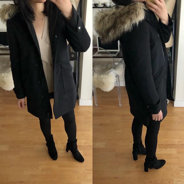 Ann Taylor Faux Fur Parka, size XSP