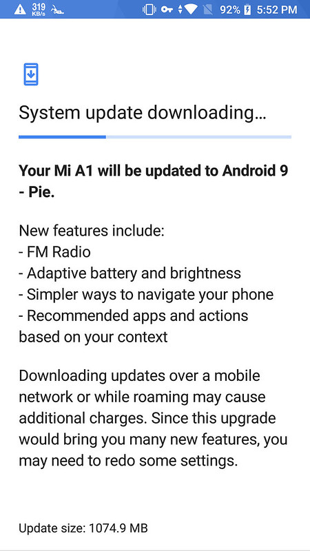 Mi A1 stable Android Pie update screenshots