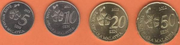 Sada mincí Malajzia 5-10-20-50 Sen 2012