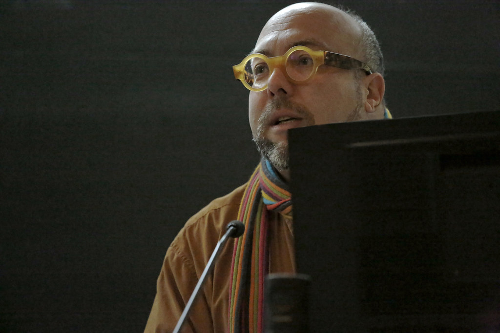 "Associate Professor Thomas Campanella speaking during the Atkinson Forum in American Studies symposium ""Place, Memory, and the Public Monument,"" in Abby and Howard Milstein Auditorium."