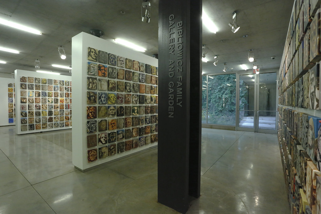 Mel Ziegler exhibition <em>1000 Portraits</em>, in Bibliowicz Family Gallery.