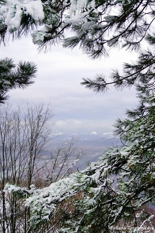 Вид от Верхней крепости Зворника зимой