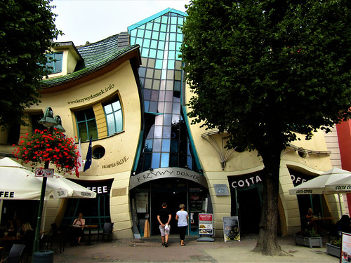 View of the Crooked House in Sopot, Poland.