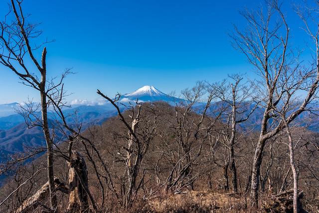 向かう稜線の先に富士山