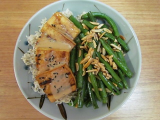 Grilled Tofu with Peanut Sauce; Seared Dragon Green Beans with Almonds