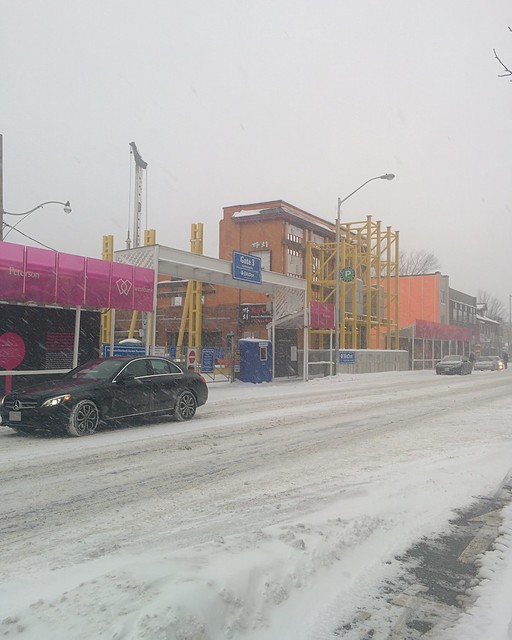 Pink and orange under white #toronto #dlws #intersection #white #winter #snow #bloorstreetwest #honesteds #pink #orange