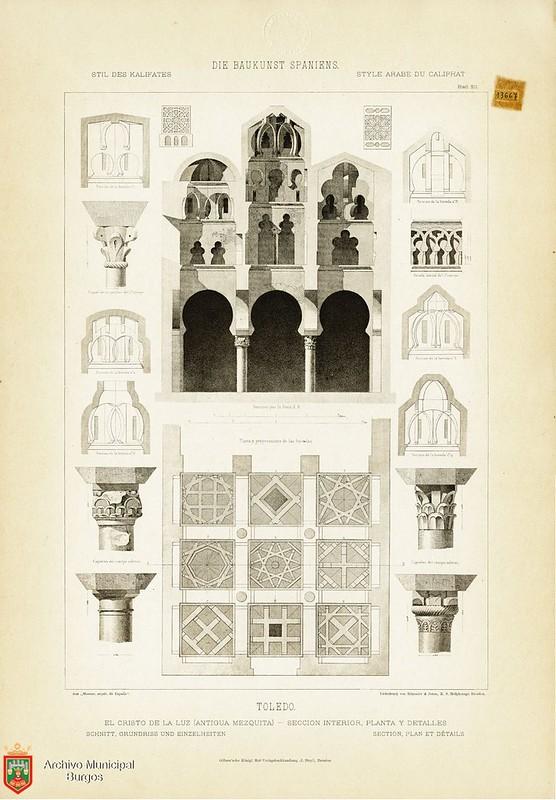 """Mezquita del Cristo de la Luz en Monumentos Arquitectónicos de España. De la obra """"Die Baukunst Spaniens in ihren hervorragendsten werken"""", de Max Junghaendel. Archivo Municipal, Ayuntamiento de Burgos."""