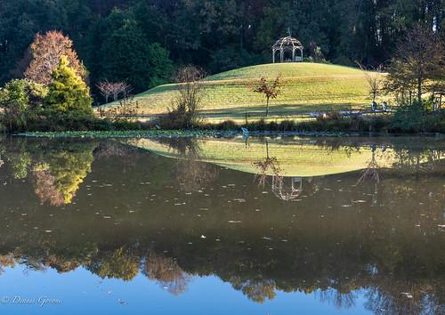 meadowlark virginia autumn building fall gazebo landscape sunrise trees water