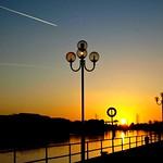 Sunset skies over Preston Docks