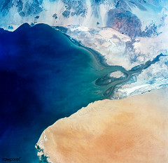 Baja California, Colorado river and Sonora Desert. Original from NASA. Digitally enhanced by rawpixel.