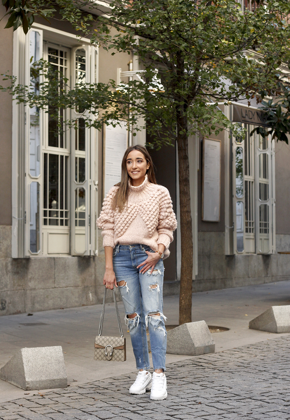 chunky pink sweater ripped jeans white fila sneakers gucci bag street style fall outfit 20184326
