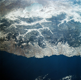 View of the USSR, Siberia area from Skylab 4. Other areas seen are Ozero, Kanka, Ussiriysk, the Sea of Japan and Kavalerovo. Original from NASA. Digitally enhanced by rawpixel.