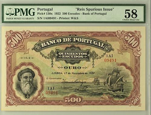 Reis Spurious 1922 Portugal 500 Escudos front