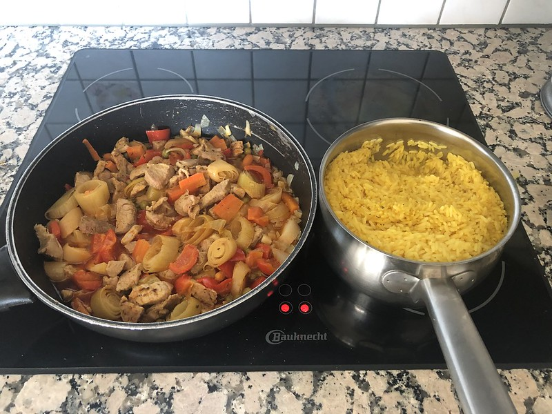 Sliced Pork, veg and Saffron Rice