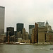 """The World Trade Center, Battery Park City under construction, Pier A,  Battery Park and the vintage spires of Lower Manhattan. Taken on a gray, rainy day from the deck of a three day """"Cruise to Nowhere"""".  New York. Aug 1986 by wavz13"""