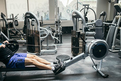 Doing exercise on a rowing machine