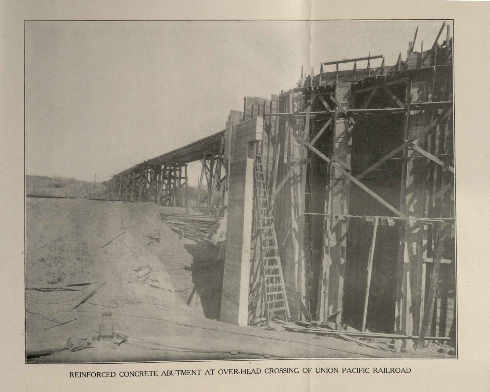 Construction of Railroad Bridge, 1912