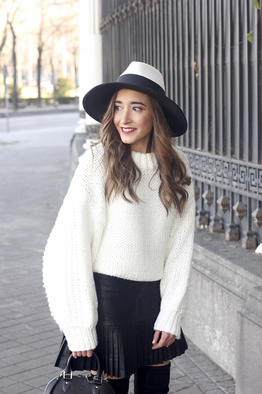 black pleated skirt  white sweater louis vuitton bag street style inspiration 20199