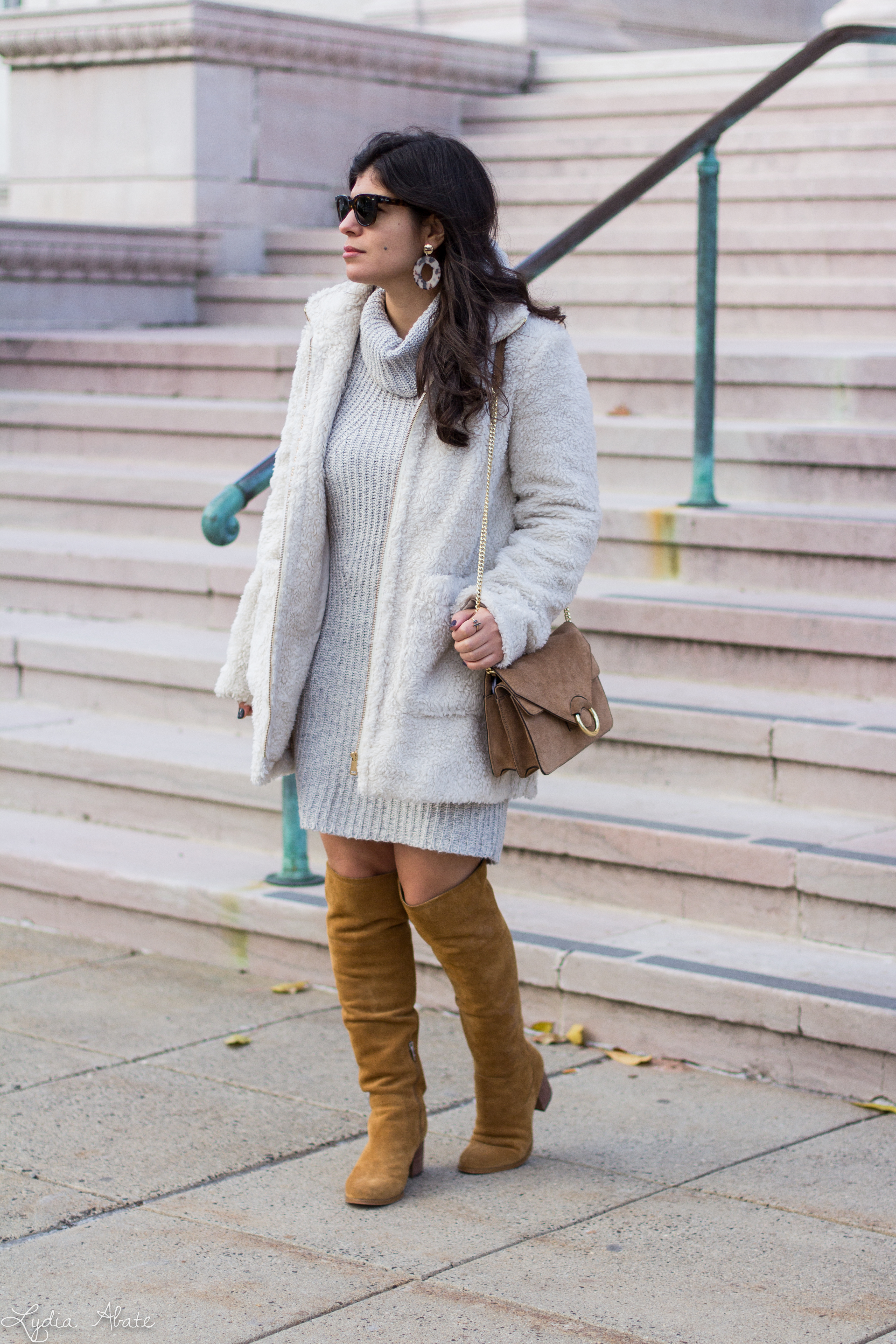 grey sweater dress, white teddy coat, over the knee boots-2.jpg