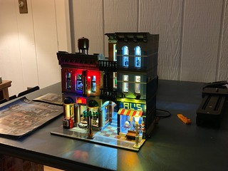 Finished setting up the lights on the LEGO Detective Office.