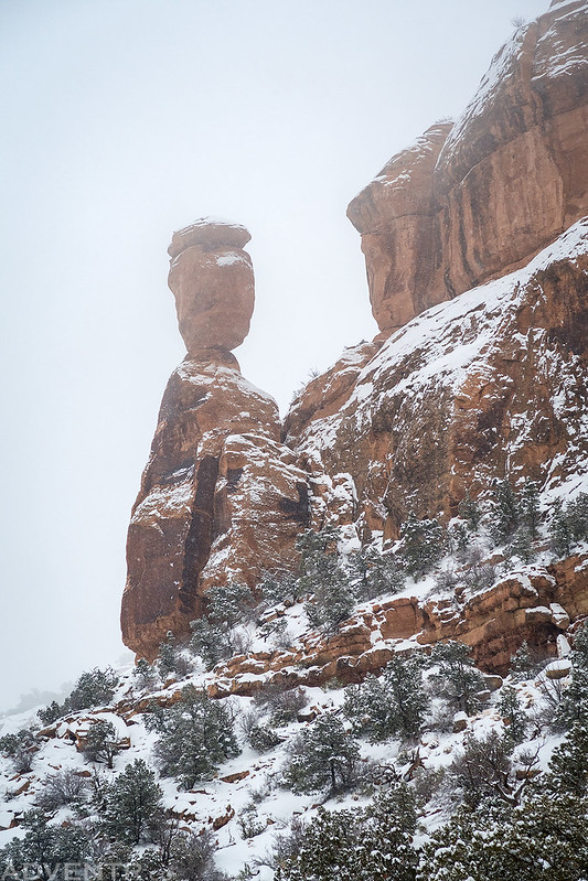 Balanced Rock In A Snowstorm