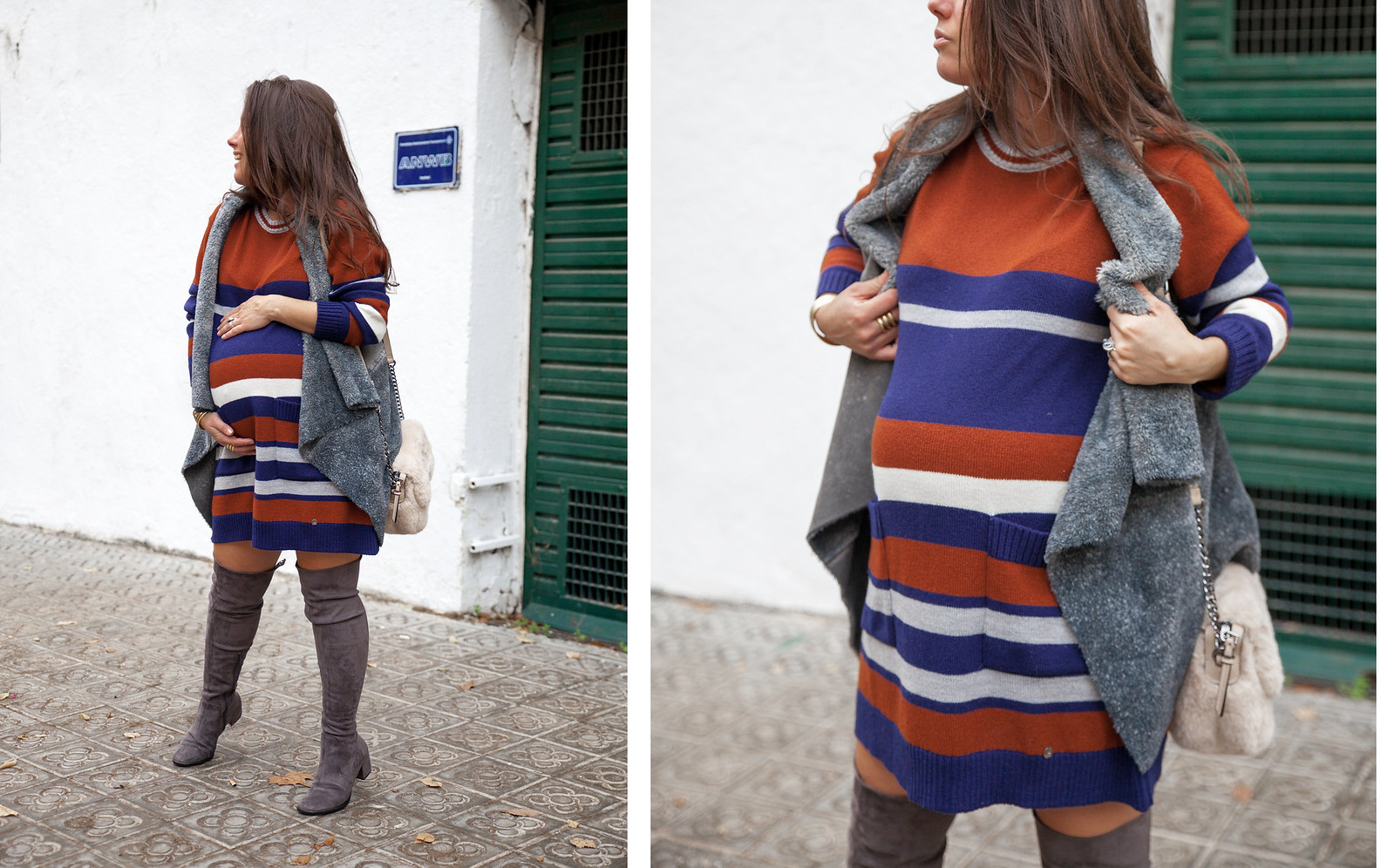 012_como_combinar_Vestido_rayas_punto_chaleco_look_embarazo_tercer_trimestre_theguestgirl_fashion_influencer_fashion_portugal_brand_ruga