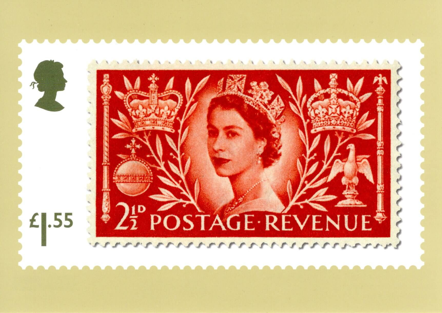 Great Britain - Stamp Classics (January 15, 2019) scarlet 2½d Queen Elizabeth II Coronation of 1952 PHQ card