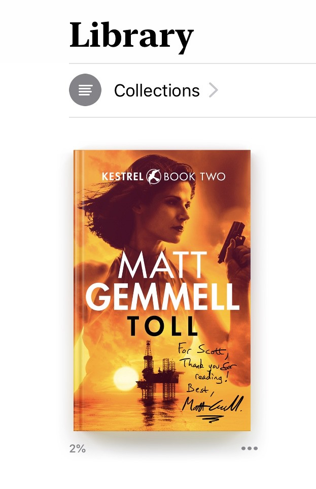 Apple Books library showing a copy of TOLL with a custom signed cover.