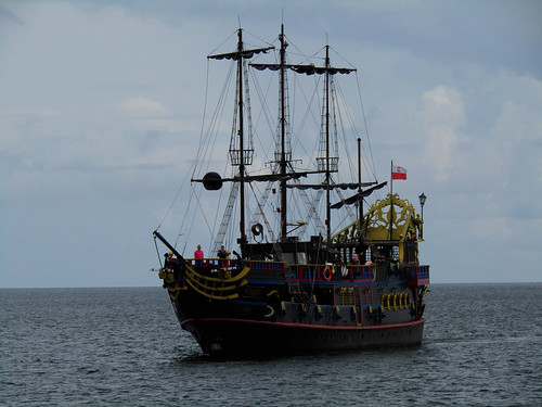close view of pirate ship heading towards Sopot's Pier in Poland