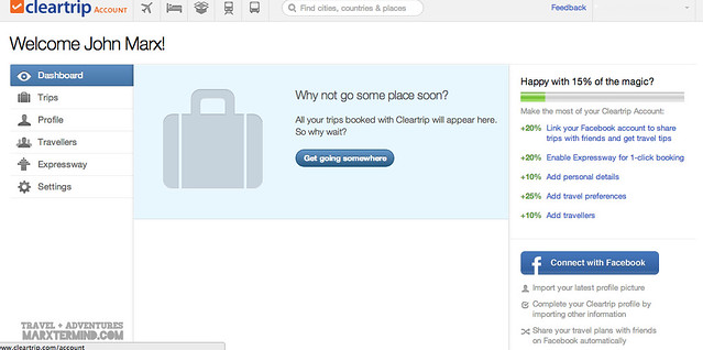Cleartrip Account Dashboard