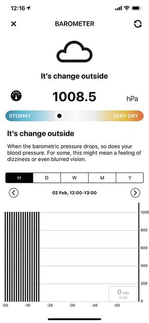 Atmotube iOS App - Barometer - Historial Data