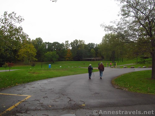 Walking out of the parking area. We'll sort of turn left to get to the trailhead for Barnes Gully, Onanda Park, New York