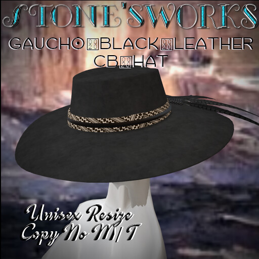 Gaucho Black Leather CB Hat Stone's Works